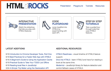 HTML5 Rocks Screenshot