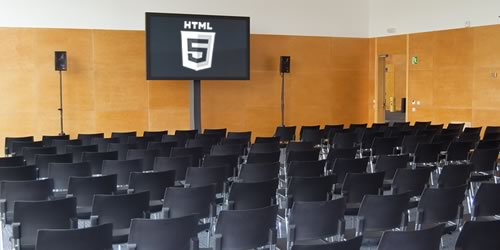 Picture of an HTML5 conference meeting room.