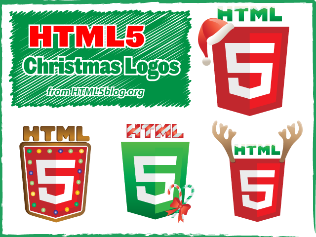 HTML5 Christmas Logos - Free set of holiday vector designs.